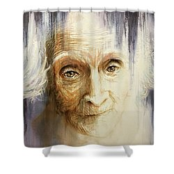 Shower Curtain featuring the painting Histories And Memories Of Ancestral Light 3 by J- J- Espinoza