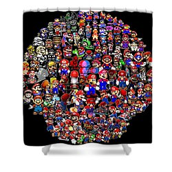 History Of Mario Mosaic Shower Curtain