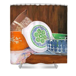 Shower Curtain featuring the painting History Of Pyrex by Lynne Reichhart