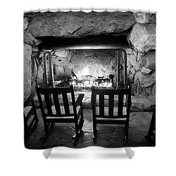 Shower Curtain featuring the photograph Winter Warmth In Black And White by Karen Wiles