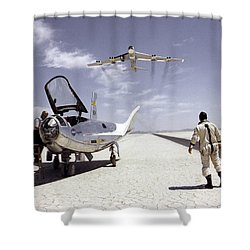 Hl-10 On Lakebed With B-52 Flyby Shower Curtain
