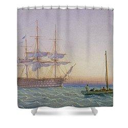 Hm Frigates At Anchor Shower Curtain by John Joy
