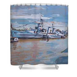 Hms Belfast Shows Off In The Sun Shower Curtain