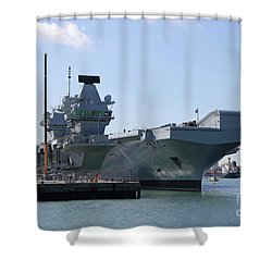 Hms Queen Elizabeth Aircraft Carrier At Portmouth Harbour Shower Curtain