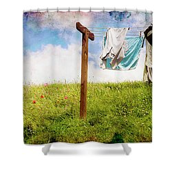 Hobbit Clothesline And Poppies Shower Curtain