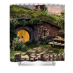 Hobbit Hole At Sunset Shower Curtain