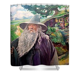 Shower Curtain featuring the painting Hobbit by Paul Weerasekera