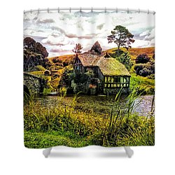 Hobbiton Mill And Bridge Shower Curtain by Kathy Kelly