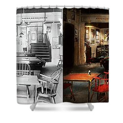 Shower Curtain featuring the photograph Hobby - Pool - The Billiards Club 1915 - Side By Side by Mike Savad