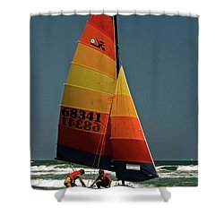 Hobie Cat In Surf Shower Curtain by Sally Weigand