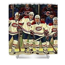 Hockey Art The Habs Fab Four Shower Curtain by Carole Spandau