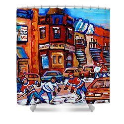 Hockey At Fairmount Bagel Shower Curtain by Carole Spandau