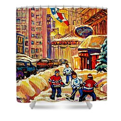 Hockey Fever Hits Montreal Bigtime Shower Curtain by Carole Spandau