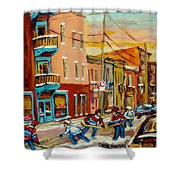 Hockey Game Fairmount And Clark Wilensky's Diner Shower Curtain by Carole Spandau