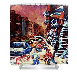 Hockey Paintings Of Montreal St Urbain Street Winterscene Shower Curtain by Carole Spandau