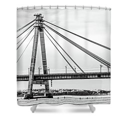 Hockey Under The Bridge Shower Curtain by Ant Rozetsky