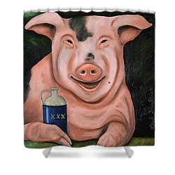 Hogging The Moonshine Shower Curtain by Leah Saulnier The Painting Maniac
