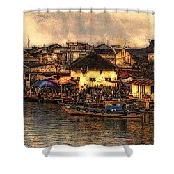 Shower Curtain featuring the digital art Hoi Ahnscape by Cameron Wood