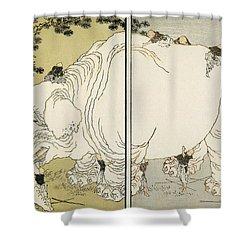 Hokusai: Elephant Shower Curtain by Granger