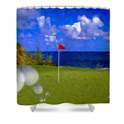 Shower Curtain featuring the photograph Fantastic 18th Green by David Zanzinger