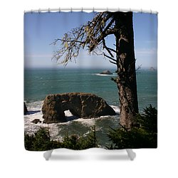 Shower Curtain featuring the photograph Hole In One At Arch Rock by Marie Neder
