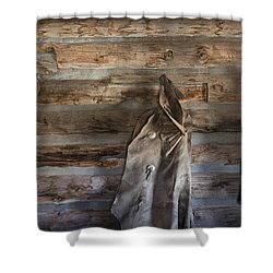 Hole-in-the-wall Cabin At Old Trail Town In Cody In Wyoming Shower Curtain