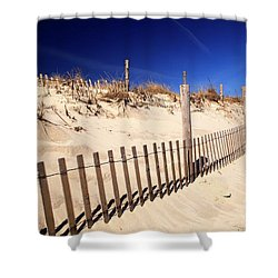 Shower Curtain featuring the photograph Holgate Dune Fence by John Rizzuto