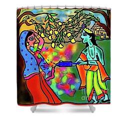 Holi Shower Curtain by Latha Gokuldas Panicker