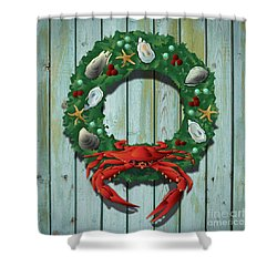 Holiday Crab Wreath Shower Curtain