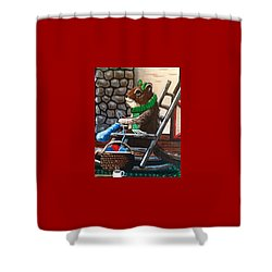 Holiday Knitting Shower Curtain