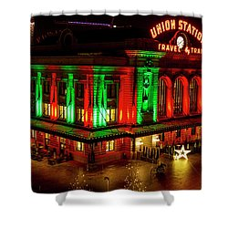 Holiday Lights At Union Station Denver Shower Curtain by Teri Virbickis