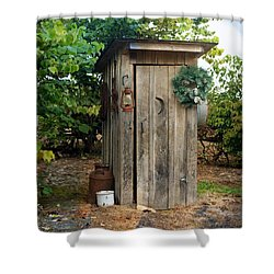 Shower Curtain featuring the photograph Holiday Outhouse by Marty Koch