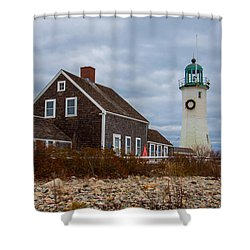 Holiday Wreath On The Lighthouse Shower Curtain