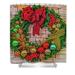 Holiday Wreath Shower Curtain
