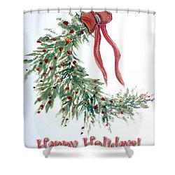 Holidays Card - 4 Shower Curtain by Dorothy Maier