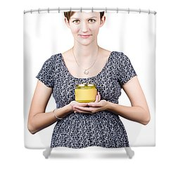 Holistic Naturopath Holding Jar Of Homemade Spread Shower Curtain by Jorgo Photography - Wall Art Gallery