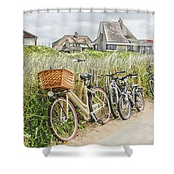 Holland - Bicycles Parked Along The Fence Shower Curtain
