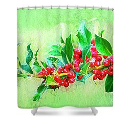 Shower Curtain featuring the photograph Holly Berries Photo Art by Sharon Talson