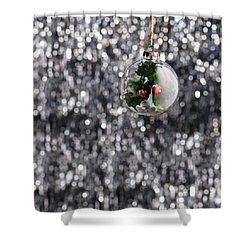 Shower Curtain featuring the photograph Holly Christmas Bauble  by Ulrich Schade
