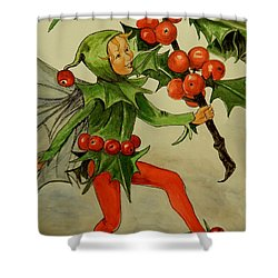 Holly Fairy After Cicely Mary Barker Shower Curtain