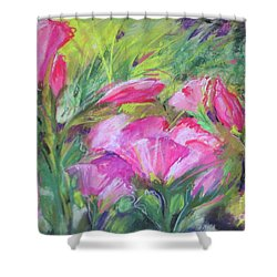 Shower Curtain featuring the painting Hollyhock Breeze by Susan Herbst