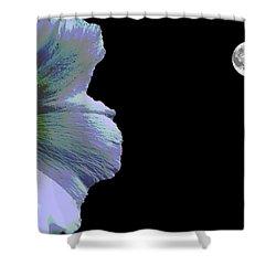 Hollyhock Moonlight Shower Curtain by Aliceann Carlton