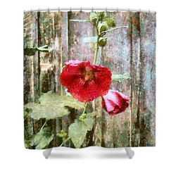 Shower Curtain featuring the photograph Hollyhock On Weathered Wood - Remember The Days by Janine Riley
