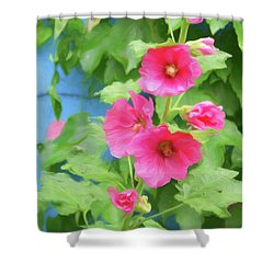 Shower Curtain featuring the photograph Hollyhocks - 1 by Nikolyn McDonald