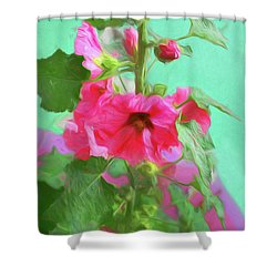 Shower Curtain featuring the photograph Hollyhocks - 2  by Nikolyn McDonald