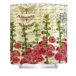 Shower Curtain featuring the drawing Hollyhocks And Butterflies  by Cathie Richardson