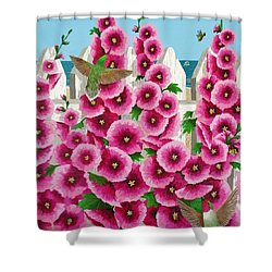 Hollyhocks And Humming Birds Shower Curtain