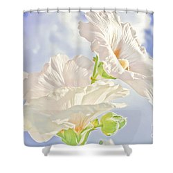 Hollyhocks And Sky Shower Curtain