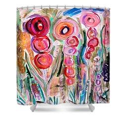 Hollyhocks Of The Garden Shower Curtain by Mary Carol Williams