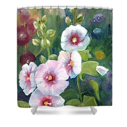 Shower Curtain featuring the painting Hollyhocks by Renate Nadi Wesley
